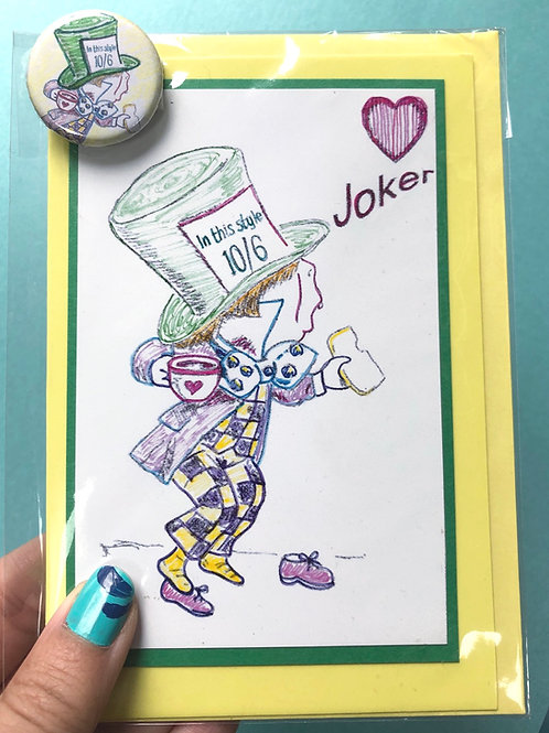 Mad Hatter Greetings Card & Badge