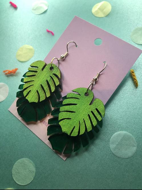 Laser cut monstera leaves earrings
