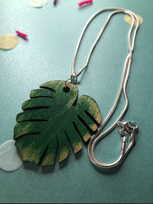 Wooden leaf necklace