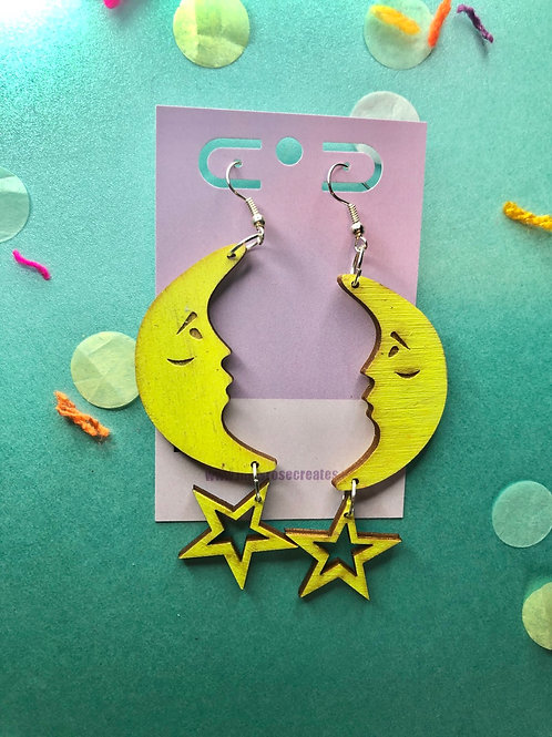 Moon face and cut out stars