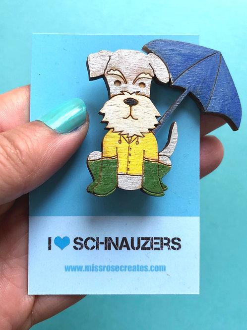 Schnauzer in April Shower Badge (£1 to Schnauzerfest)