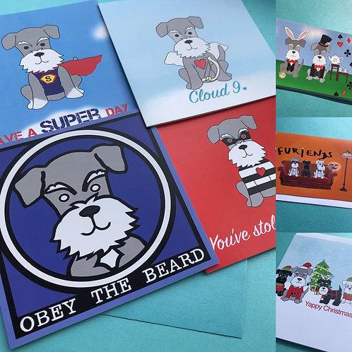 7 Schnauzer cards & 1 set of postcards bundle