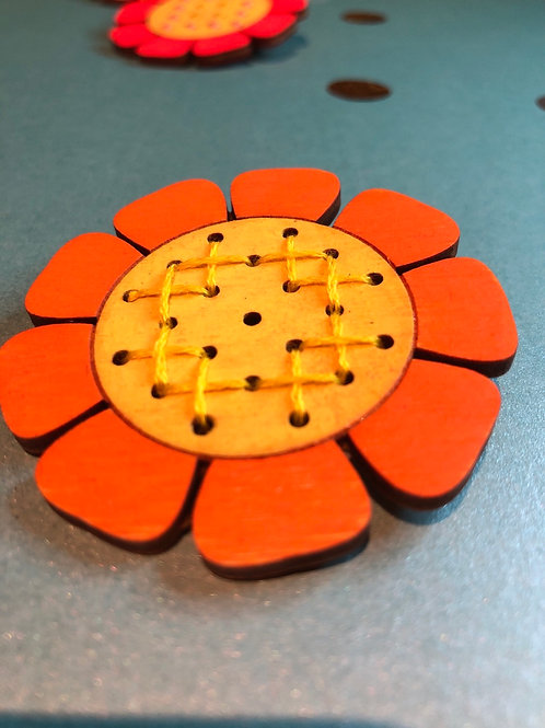 Orange hand embroidered flower brooch (21 embroidery holes)
