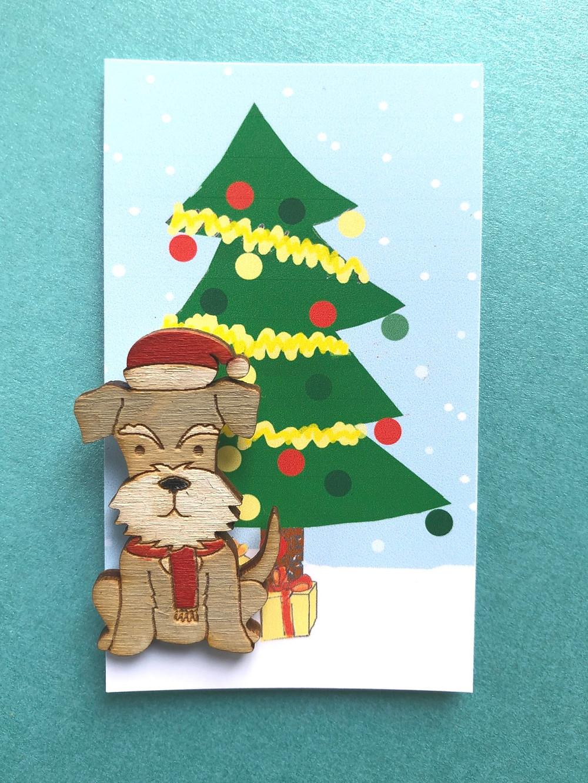 Christmas Schnauzer Badge