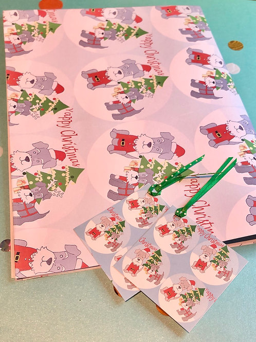 Yappy Christmas Schnauzer wrapping paper