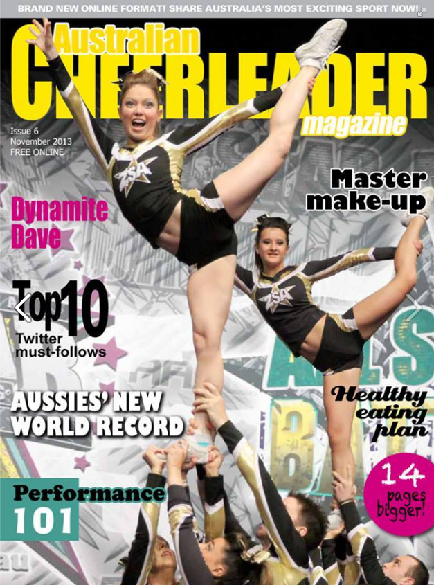 Cover of Australian Cheerleader Magazine to go with Cheer Chick Charlie article