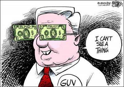 Money eyes political cartoon
