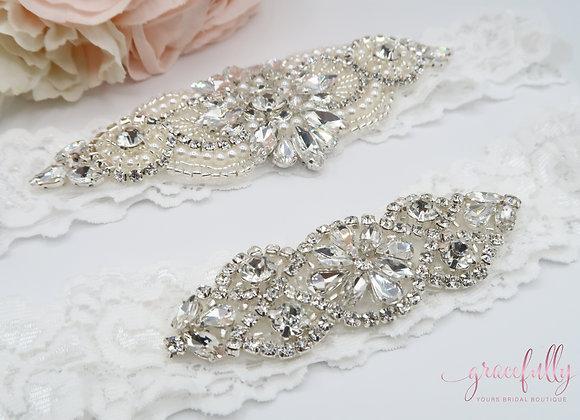 Silver Rhinestone Bridal Garter Set