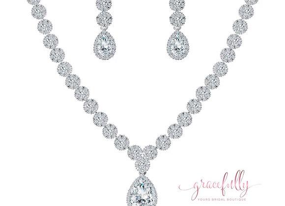 Pear Drop Shape Bridal Jewelry Set