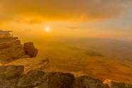 Sunrise view of cliffs and landscape in Makhtesh (crater) Ramon, Israel