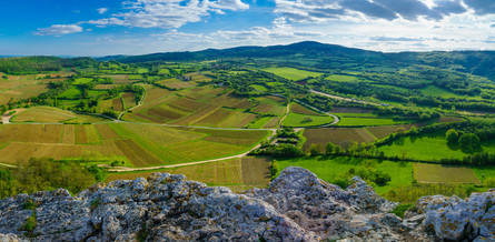 Panoramic landscape from the Rock of Solutre (France)