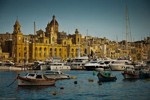 View of Senglea harbor, one of the three cities, Malta