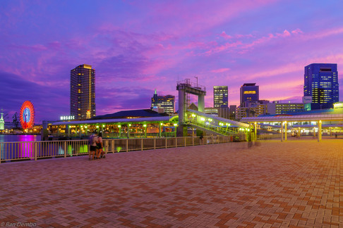 Sunset view of the Port, Kobe, Japan