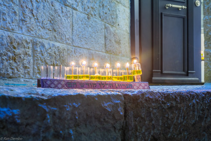 Traditional Menorah (Hanukkah Lamp) with olive oil candles, Jerusalem