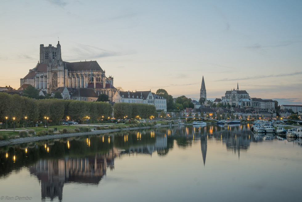 Yonne River and churches, in Auxerre, France