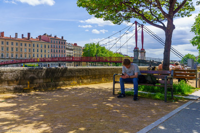 Saone River, and Saint-Gorges bridge, in Old Lyon, France
