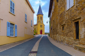 Village center and the church, in Moire, Beaujolais, France