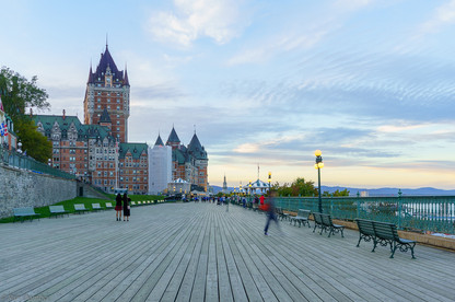 Sunset view of  Dufferin Terrace and Chateau Frontenac, Quebec City, Canada