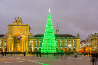 Terreiro do Paco, with  a Christmas tree, in Lisbon