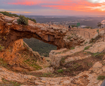 Sunset view of the Keshet Cave, Israel