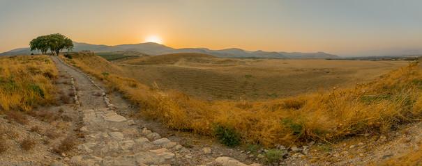Sunset panorama of Hula Valley landscape, viewed from Tel Hazor, Israel