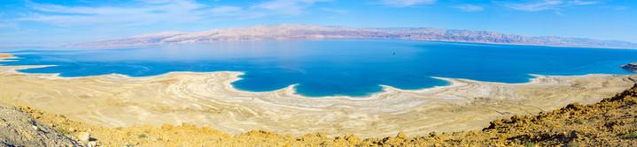 Panoramic landscape of the coastline of the Dead Sea, Israel