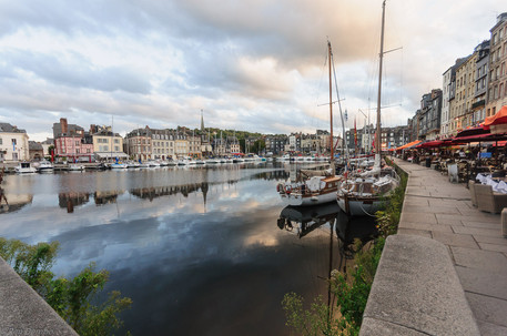 Vieux Port (Old Harbor), houses and boats in Honfleur, France