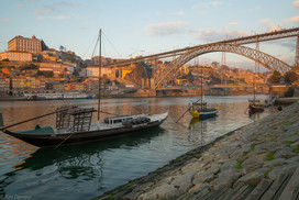 Sunset view of the Douro river, in Porto, Portugal