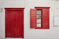 Typical door and window in Mykonos, Greece