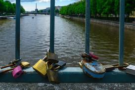 Love Locks on the Theatre bridge, in Turku, Finland
