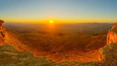Panoramic sunrise view of Makhtesh (crater) Ramon, Israel