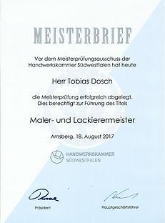 Meisterbrief von Tobias Dosch
