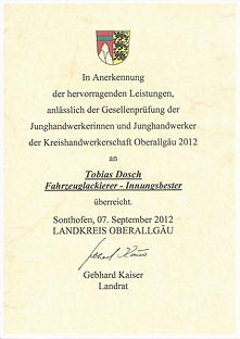 Innungsbester Fahrzeuglackierer Tobias Dosch
