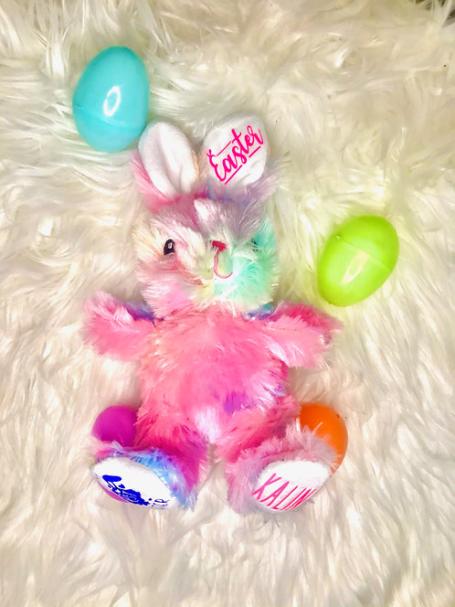 Tie Dye Personalized Easter Bunny, Personalized Easter Rabbit, Tie Dye Bunny