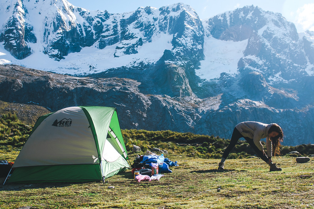 Yoga and backpacking in the mountains