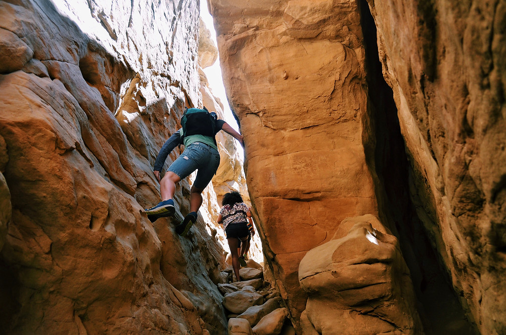 Hiking in a slot canyon