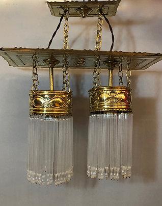 Jugendstil Lampe mit Glasstäben antik um 1900 Stäbchenlampe