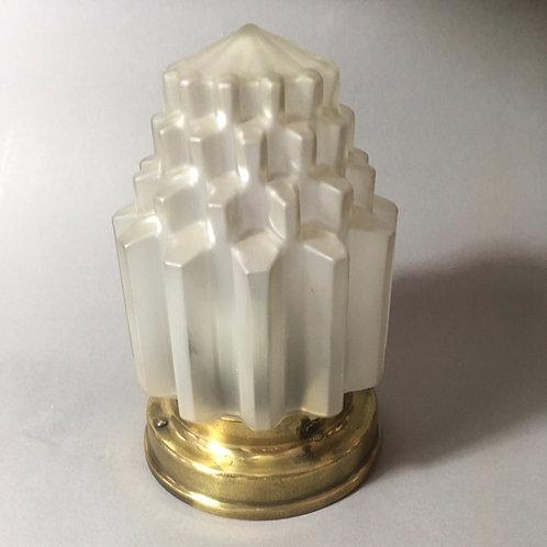 Art Deco Wandlampe Plafoniere Messing Satinglas Zapfenform