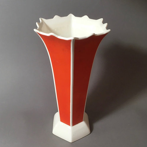 Große Art Deco Roesler Vase orange weiß