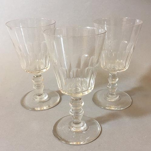 Drei antike Weingläser um 1880 mit Schliff