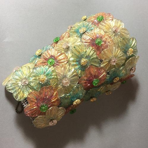 Murano Glas Wandleuchte von Barovier & Toso Blüten 1950er Jahre
