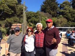 Héctor Alemán de Bolivia, Rosaura Campusano de Chile, José Hidalgo y Bolívar Luzuriaga de Ecuador en el almuerzo campestre del 6to. Encuentro en Chile