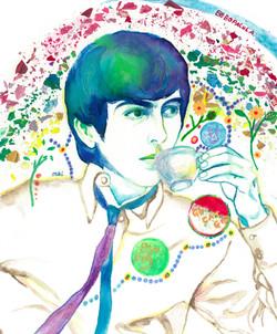 George Harrison having a cup of tea