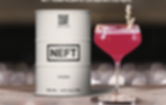 A woman dances with a glass of NEFT and a wagon full of NEFT behind her.