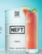 A tall cocktail glass with a piece of watermelon and a barrel of NEFT vodka