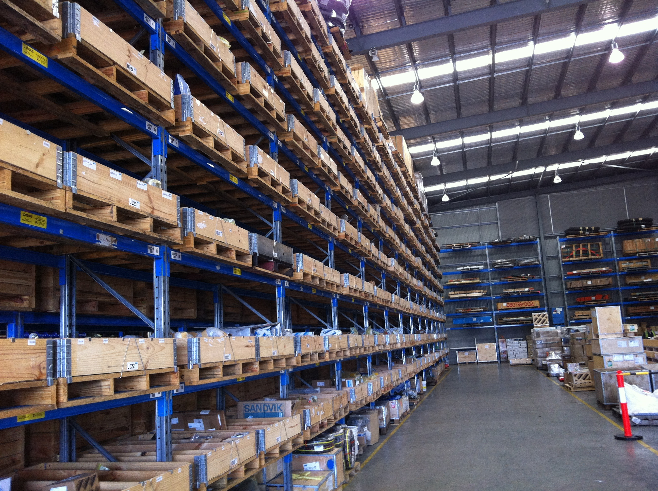 A warehouse using pallet collars