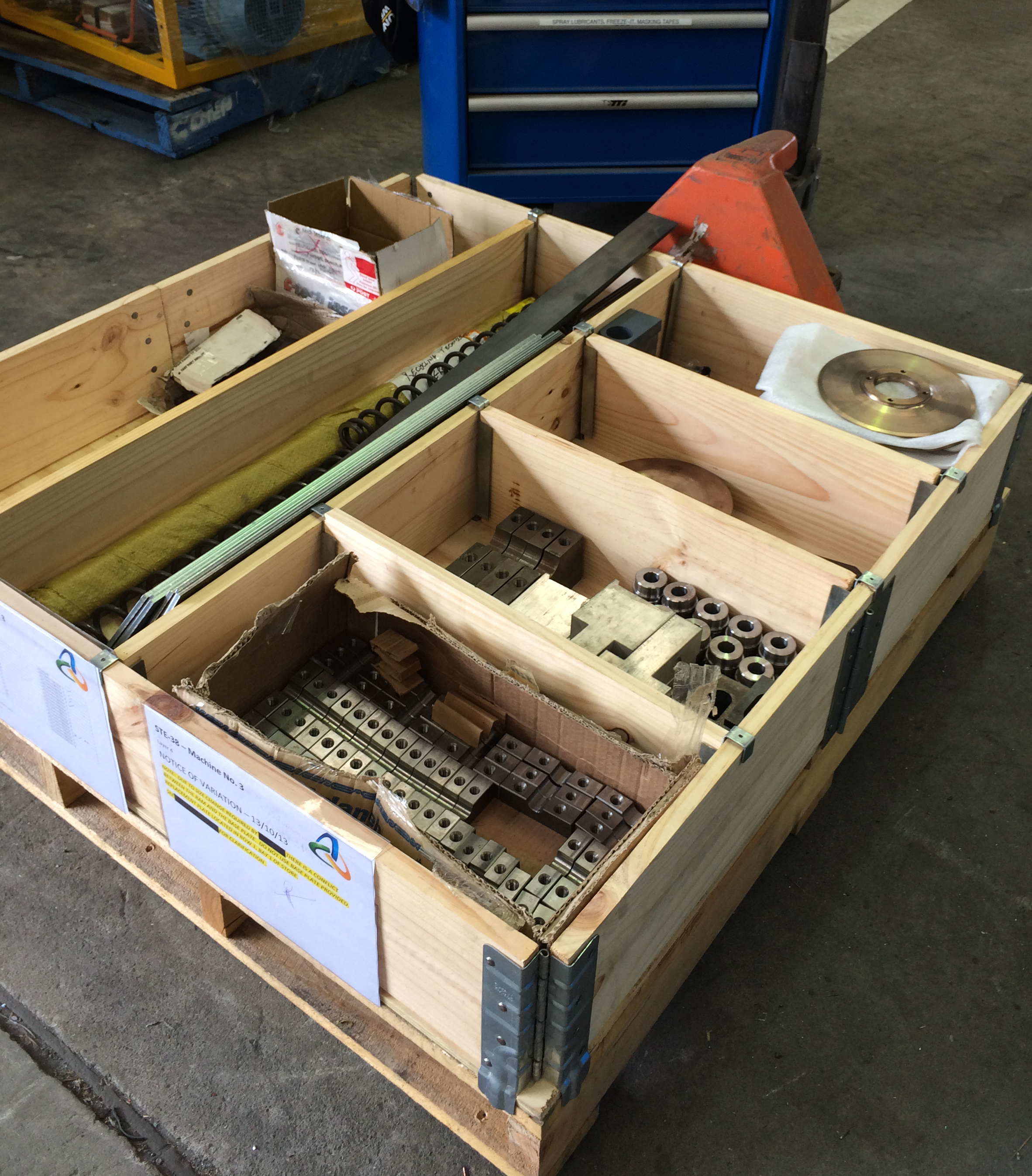 Production parts in pallet collars 3