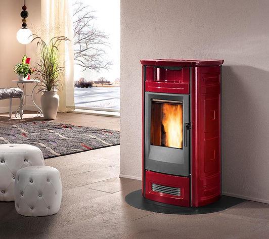 Piazzetta P963 Pellet Heater in Bordeaux (Dark Red)
