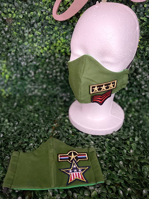 Army Green Mask w/Military Patches