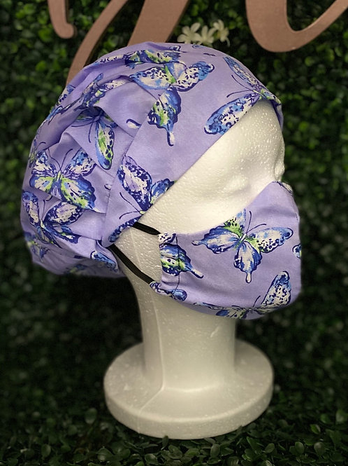Purple Butterfly Surgical Cap & Mask Set